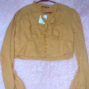 Mustard color cropped blouse